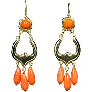 Estate Coral 18 k yellow gold drop earrings