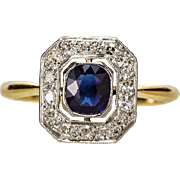 Antique Edwardian diamond and sapphire ring 18 k yellow gold and  platinum circa 1910 s ...
