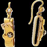 Antique Victorian drop earrings diamond pearl 18 k gold