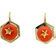 Antique Victorian coral drop earrings 18 k yellow gold