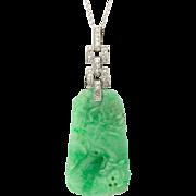 Art Deco Certified Natural Jadeite-Jade pendant diamond platinum 950  white gold 14 k circa ..
