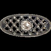 Antique Georgian 1.00 carat rose-cut diamond brooch yellow gold 14 k and silver top
