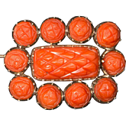 Antique Georgian coral brooch 9 k and 14 k yellow gold