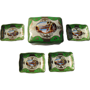 Occupied Japan Moriage Lake Scene Card Box and Nut Dish Set