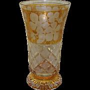 Vintage Bohemian Amber Etched Glass Beaker
