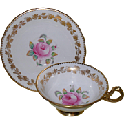Royal Chelsea Pink Rose and Gold Teacup and Saucer