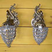 Pair of Small French Crystal Interior Sconces on Brass