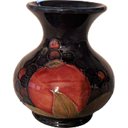 Signed Vintage William Moorcroft Pomegranate and Berry Cobalt Vase
