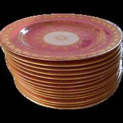 "14 Cauldon England Gold Hearts on Pink Dessert Plates Higgins & Seiter New York 8"""