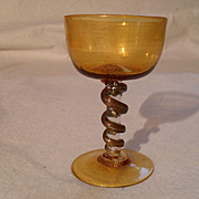 Gorgeous Rare Salviati Murano Italy Gold Leaf Wine Glass with Snake