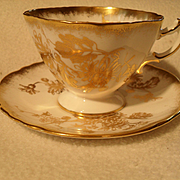Beautiful Gold Encrusted Hammersley Chrysanthemum Floral Teacup and Saucer 5030