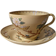 Wedgwood Etruria Bird/Branch Ocre Teacup and Saucer