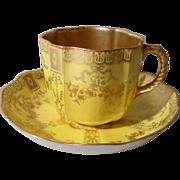 Antique Royal Crown Derby Gold Bows Teacup/Saucer