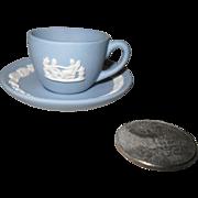 """Miniature Wedgwood Blue Jasperware Teacup/Saucer 2"""""""