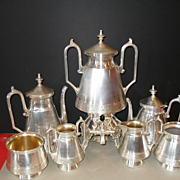 Aesthetic Era Wilcox Quad Silverplate 7pc Teaset Birds/Urn