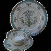 Lenox Blue Tree Teacup/Saucer/Plate Asian Urn Gold