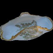T&V Limoges France Gold Sea Fern Dessert Dish