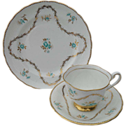 Royal Chelsea Turquoise Gold Teacup Saucer Plate Trio