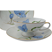 Rosenthal Porcelain Blue Poppy Gold Teacup and Saucer