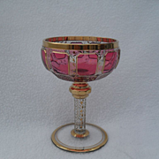 Heavy Moser Cranberry Ruby Gold Panel Champagne Glass
