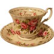 Royal Albert Pink Roses June Flower Teacup and Saucer