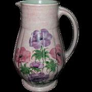 Radford Handpainted Art Deco Period Anemone Pink Pitcher Vase