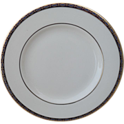 Classic Minton St James Pale Blue Ovals on Cobalt/Gold Bread and Butter Plate