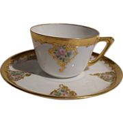 Early Jaeger & Co Bavaria Germany Gold Encrusted Demitasse Cup/Saucer
