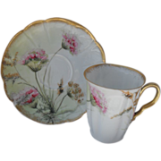 Precious Little H & Co. Limoges Pink Floral Chocolate Cup and Saucer