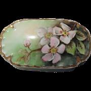 Pretty Pink Apple Blossom Haviland Limoges Covered Trinket Dish