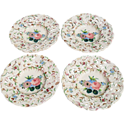 Four Vintage 1930's Tin Glazed Italy Faience Handpainted Floral Plates