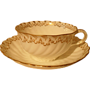 Beautiful George Jones for Davis Collamore Gold Sea Swirl Teacup and Saucer Q1545