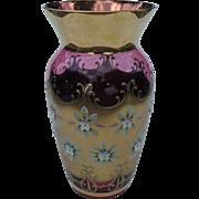 Large Venetian Murano Glass Cranberry Gilt Enamel Flower Vase