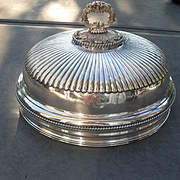Antique Sheffield Silverplate Turkey Meat Dome Heraldic MacCallum Crest 16""