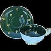 Vintage Shelley Gold Fleur de Lis on Green Teacup and Saucer