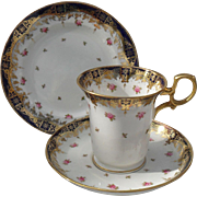 Early Paragon Pink Roses Gold Encrusted Espresso Cup Saucer and Plate Trio 1920
