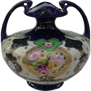 Antique HP Nippon Pink Yellow Roses Urn Vase Maple Leaf Mark