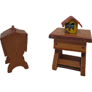 Vintage Miniature Doll House Table, Sewing box, and birdhouse.