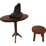 Vintage Wooden Table and Stool with Statue.
