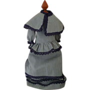 Vintage Handmade Blue Doll Dress with Cape.