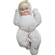 Vintage Pink Mohair Girl with Rubber Face Doll