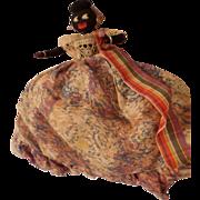 Vintage Black Coth and Felt Topsy Turvey Doll