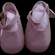Vintage Pink Vinyl Doll Shoes
