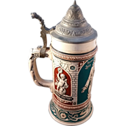 """Pewter lidded German Art Nouveau """"Ober-Ammergow miracle"""" Stein"""