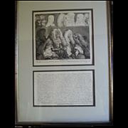 """William Hogarth (1697-1764) original engraving; """"The Bench"""""""
