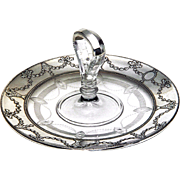 REDUCED Sterling Silver & Crystal Serving Tray Vintage Large