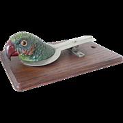SALE Vintage Parrot Desk Clip Board Polychrome Cold Painted Spelter Antique