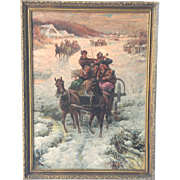 Russian Winter Horse and Carriage O/C Painting by Constantine Stojanov