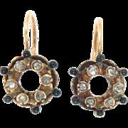 SALE Earrings 15 Kt Gold Black Enameled Rose Cut Diamonds Georgian Antique 19th C
