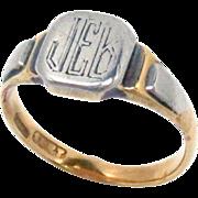 Signet Ring Platinum 18K Gold Art Deco Size 5.25
